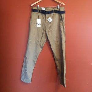 NWT Zara men's belted slim khakis size 34